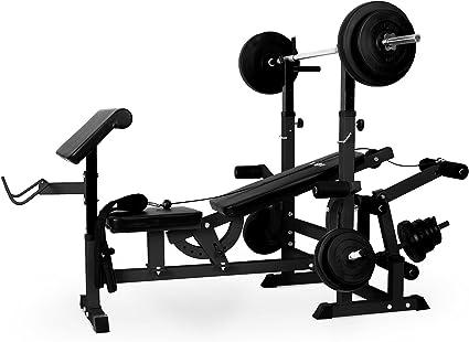 Klarfit KS02 Station de musculation avec banc, Curl Pult, Butterfly, porte haltères, câbles d'étirement pour un entrainement complet
