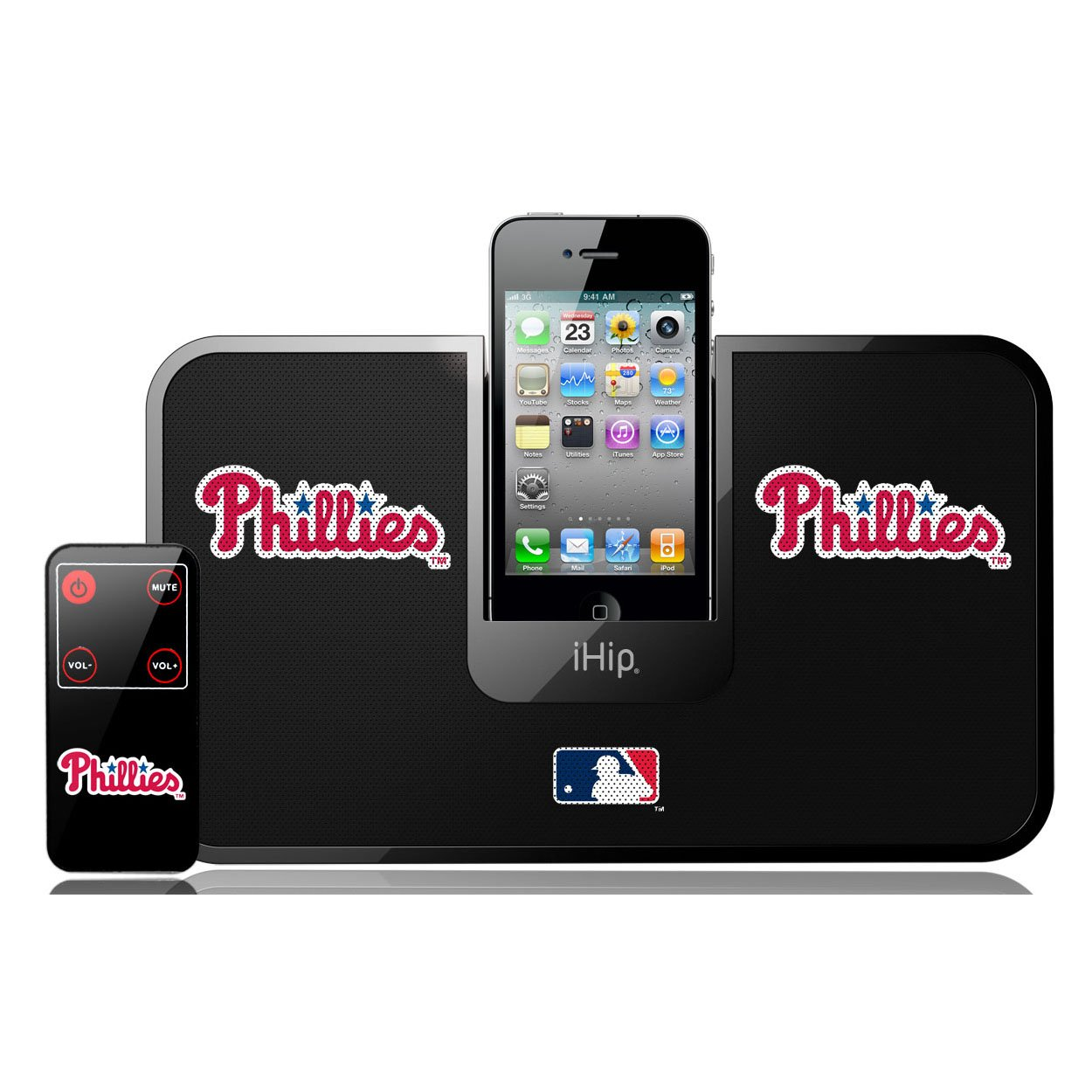 iHip Official MLB PHILADELPHIA PHILLIES Portable iDock Stereo Speaker with Wireless Remote MLV5000PHL