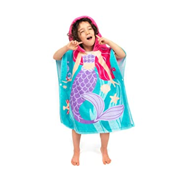 Florica 100% Cotton Kids Childs Boys Girls Lovely Hooded Ponchos Swimming  Bath Towel (Mermaid fff6c6319