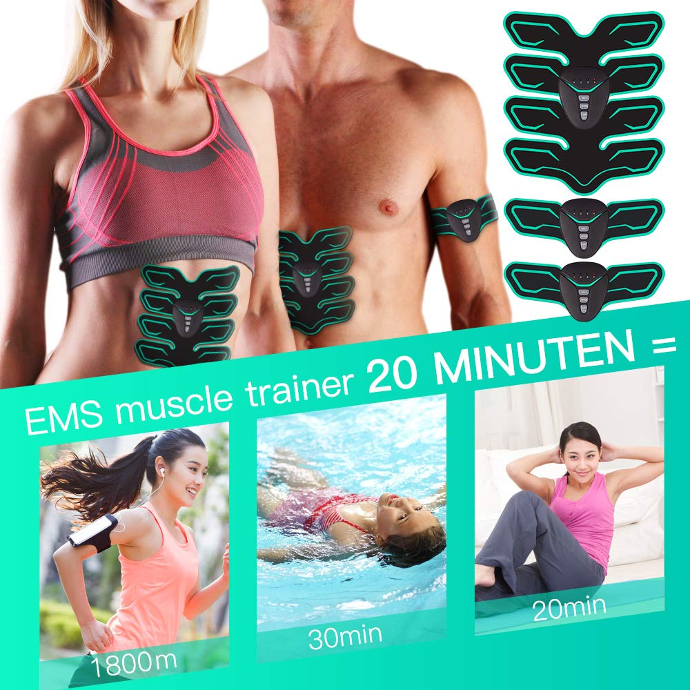 FYLINA EMS Abdominal Muscle Stimulator Abs Trainer Muscle Toning Belts Home Workout Fitness Device for Men /& Women
