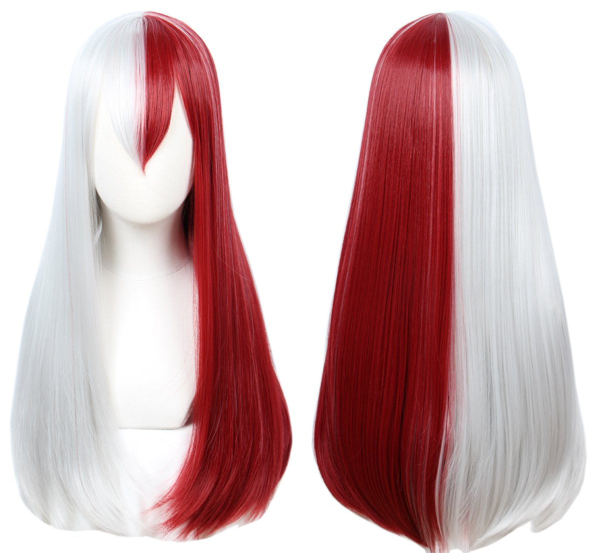 Linfairy Halloween Long Costume Cosplay Wig Half Red and Sliver Wig for Women
