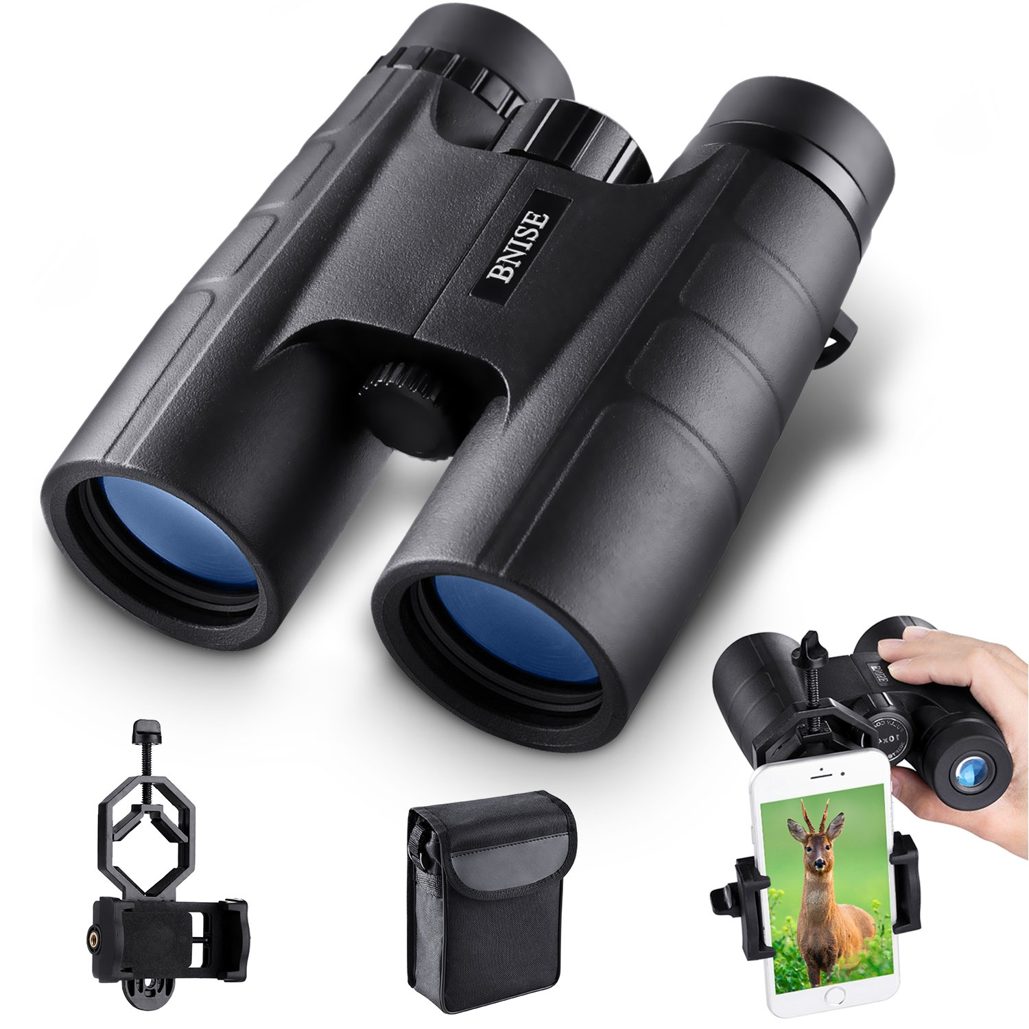 BNISE Binoculars for Adults Compact, 10X42 HD Professional, BAK4 Prism FMC Lens, Suitable for Outdoor Travel, for Bird Watching, for Hunting, Concerts, with Smartphone Adapter by BNISE