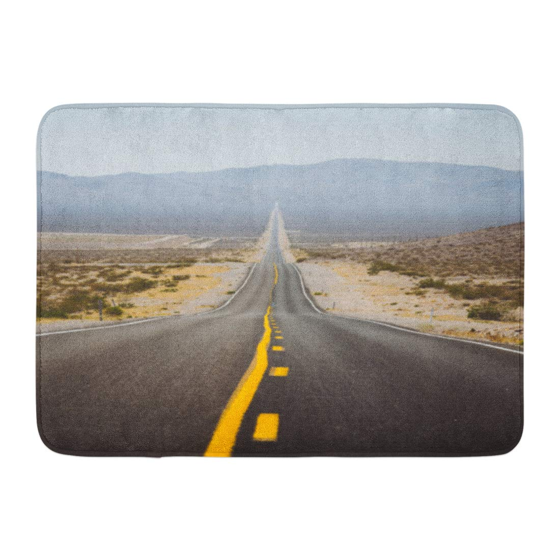 Emvency Bath Mat Classic Panorama View of Endless Straight Road Running Through The Barren Scenery American Southwest Bathroom Decor Rug 16'' x 24''