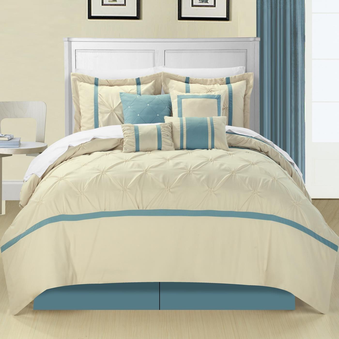 Beige 127CQ101-AN Chic Home 8-Piece Vermont Embroidered Comforter Set Queen