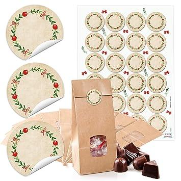 ea82d8919 24 Kleine marrón bolsas de papel con ventana suelo y Pergamino 10,5 x 6,5  ...