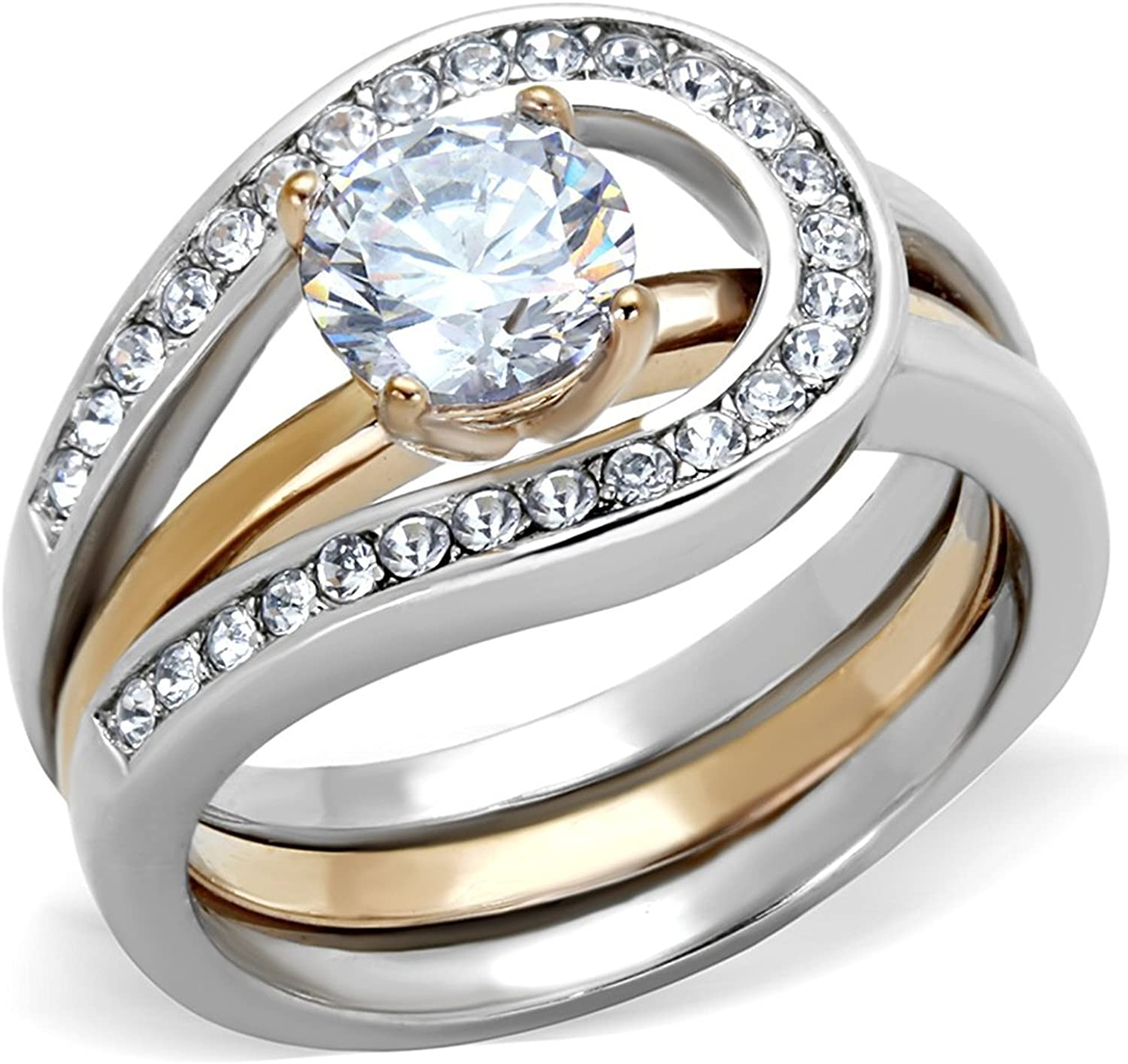 Round Cut Two Toned Stainless Steel 2 Piece Wedding Ring Set Women/'s Sz 5-10