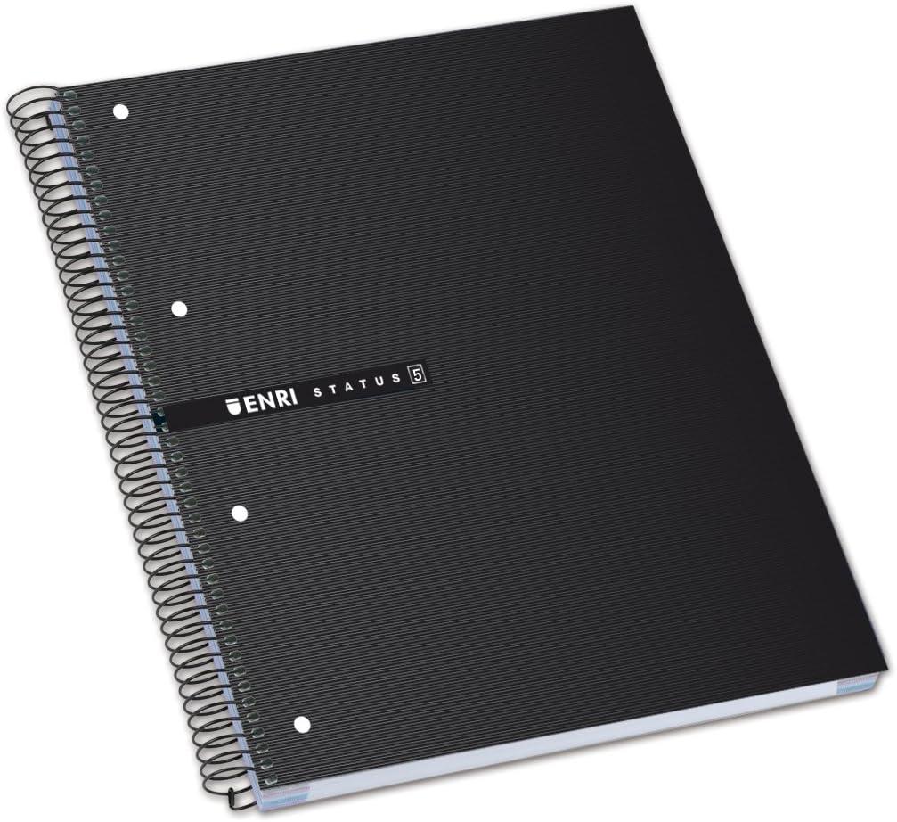 Enri Status - Pack de 5 cuadernos espiral microperforados, tapa extradura, A4+: Amazon.es: Oficina y papelería