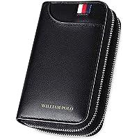 WILLIAMPOLO Men Wallet Car Key Case Genuine Leather Bag Zipper Keys Organizer 6 Key Hooks with Card Slots