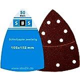SBS Klett-Schleifblätter | 105 x 152mm | Korn 180 | 25 Stück | für Multischleifer Prio
