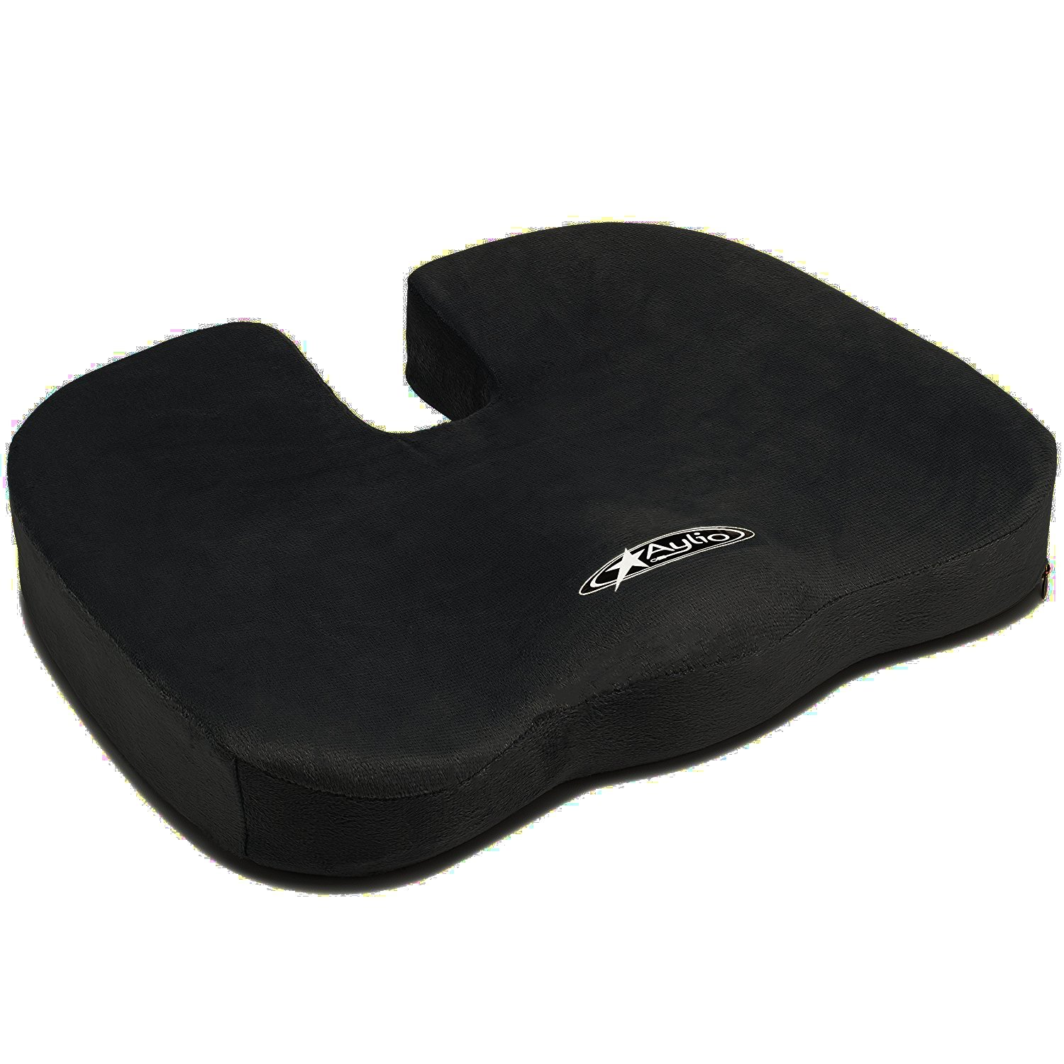 Aylio Coccyx Seat Cushion | Back Support, Tailbone and Sciatica Pain Relief, Washable Cover (Black)
