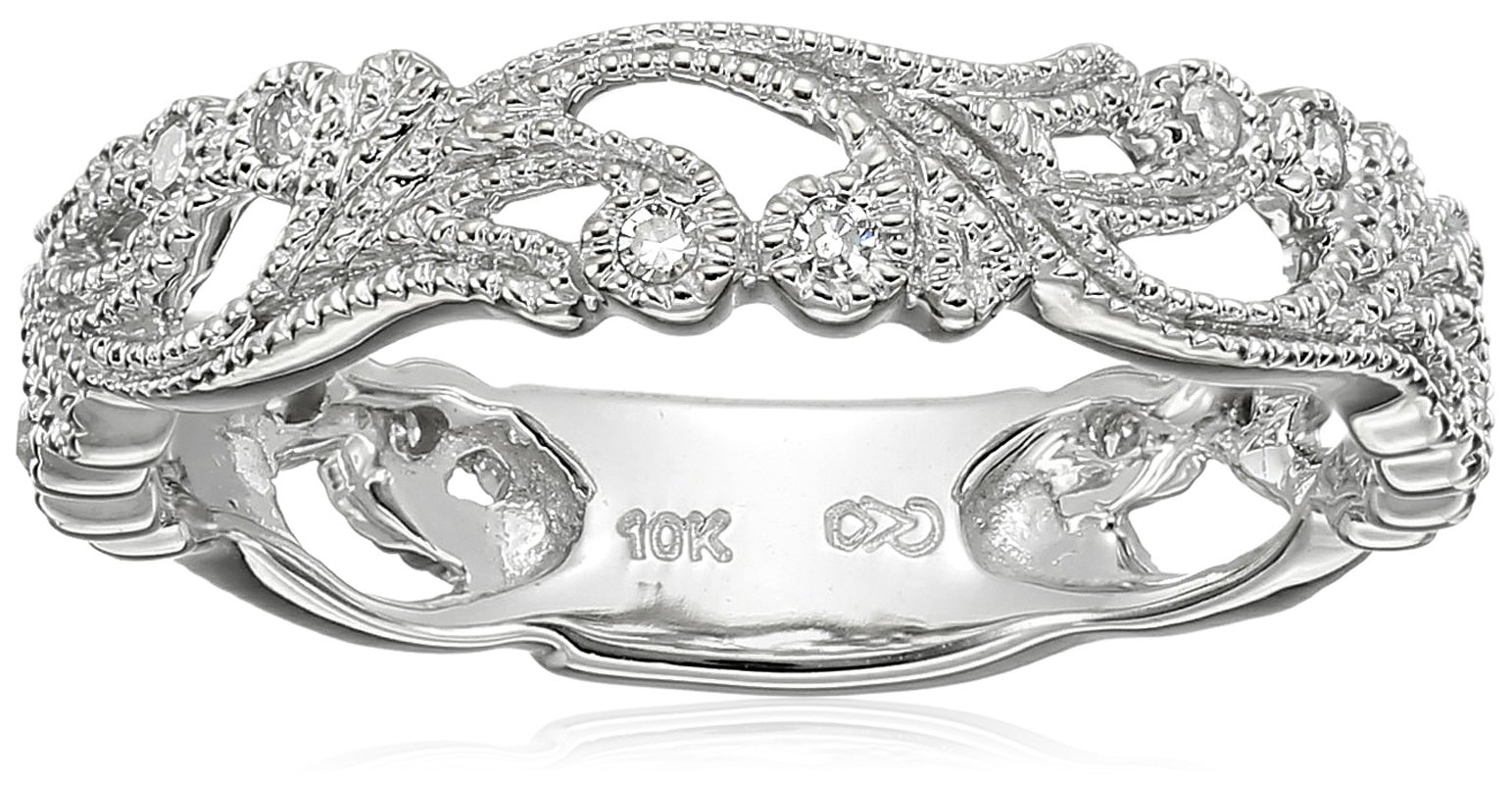 10k White Gold Diamond Ring (1/10 cttw, H-I Color, I3 Clarity), Size 6