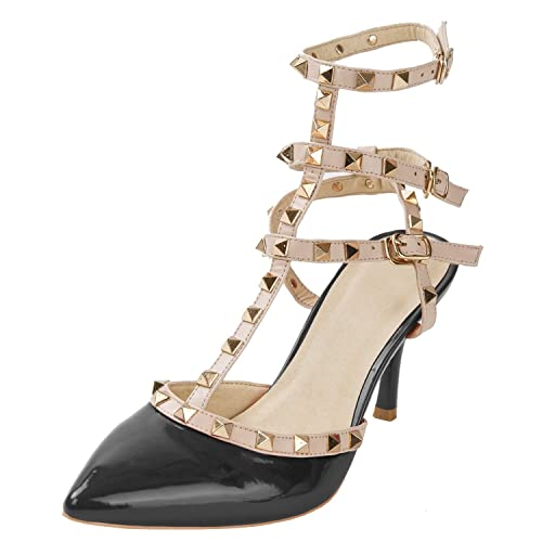 Women's Studded Patent Leather Contrast Stilettos &High Heel Pointed Toe  Buckle Sandals (Black) (