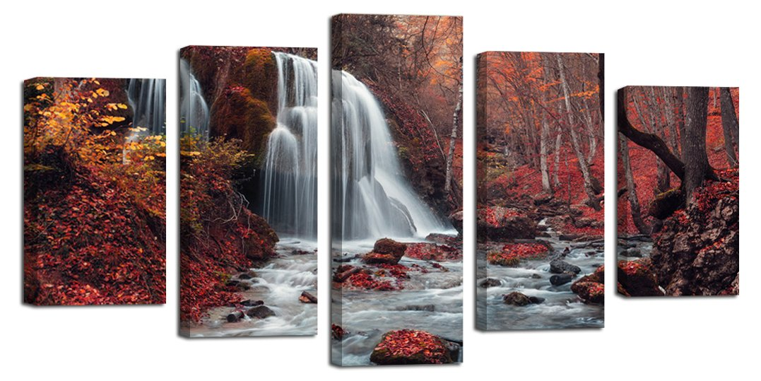 Ardemy Canvas Art Paintings Maple Forest Waterfall Landscape Large Size Set of 5 Wrapped and Framed Artwork Prints for Living Room Bedroom Office Hotel Wall Decoration