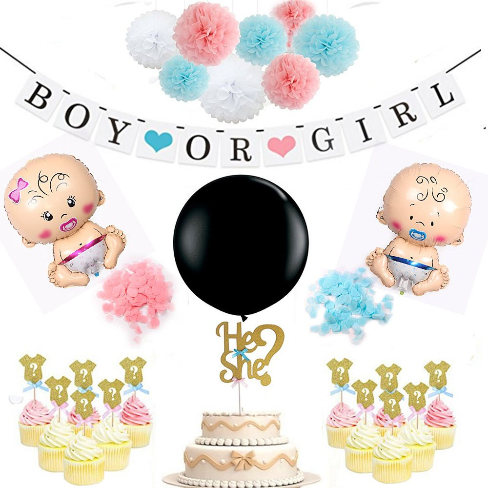P+Co Chic Gender Reveal Party 25 PCS Set (Boy Or Girl?) Decoration Celebrations - 8 Pom Pom + 2 Baby Foil Balloons + 1 Banner + 1 Confetti Balloon + 12 Cupcake Topper + 1 Cake Topper
