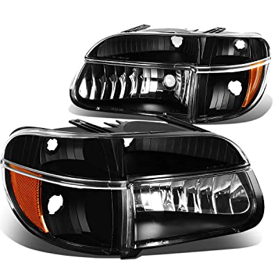 DNA Motoring HL-OH-FEXP954P-BK-AM Headlight Assembly, Driver & Passenger Side,Black amber: Automotive