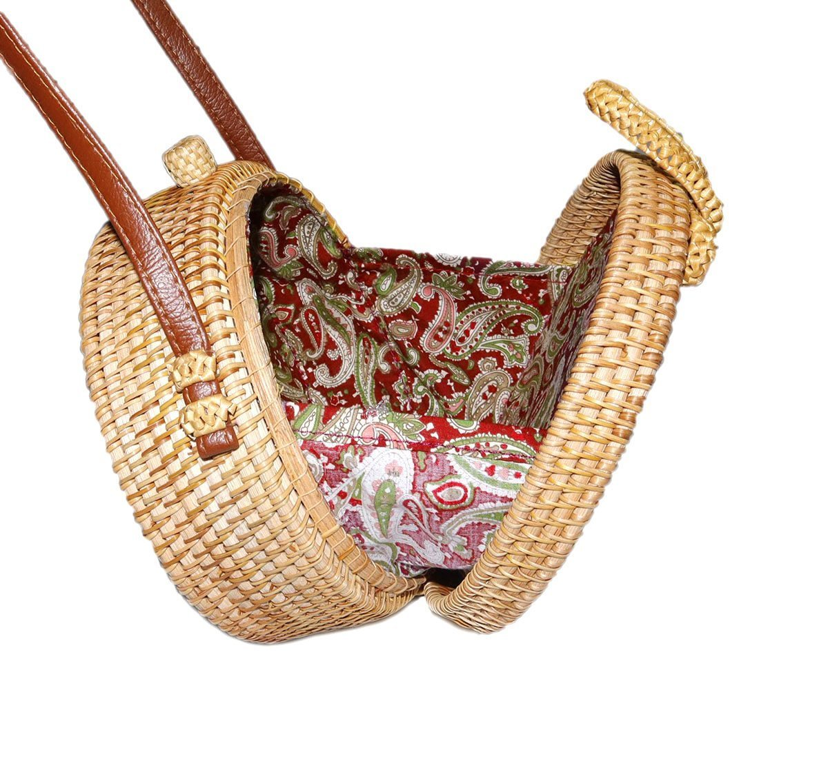 Happy Lily Women Handwoven Round Rattan Bag, Round Woven Straw Bag, Round Purse, Circle Tropical Beach Crossbody Bag with Cotton Fabric Inside and Cross Clasp