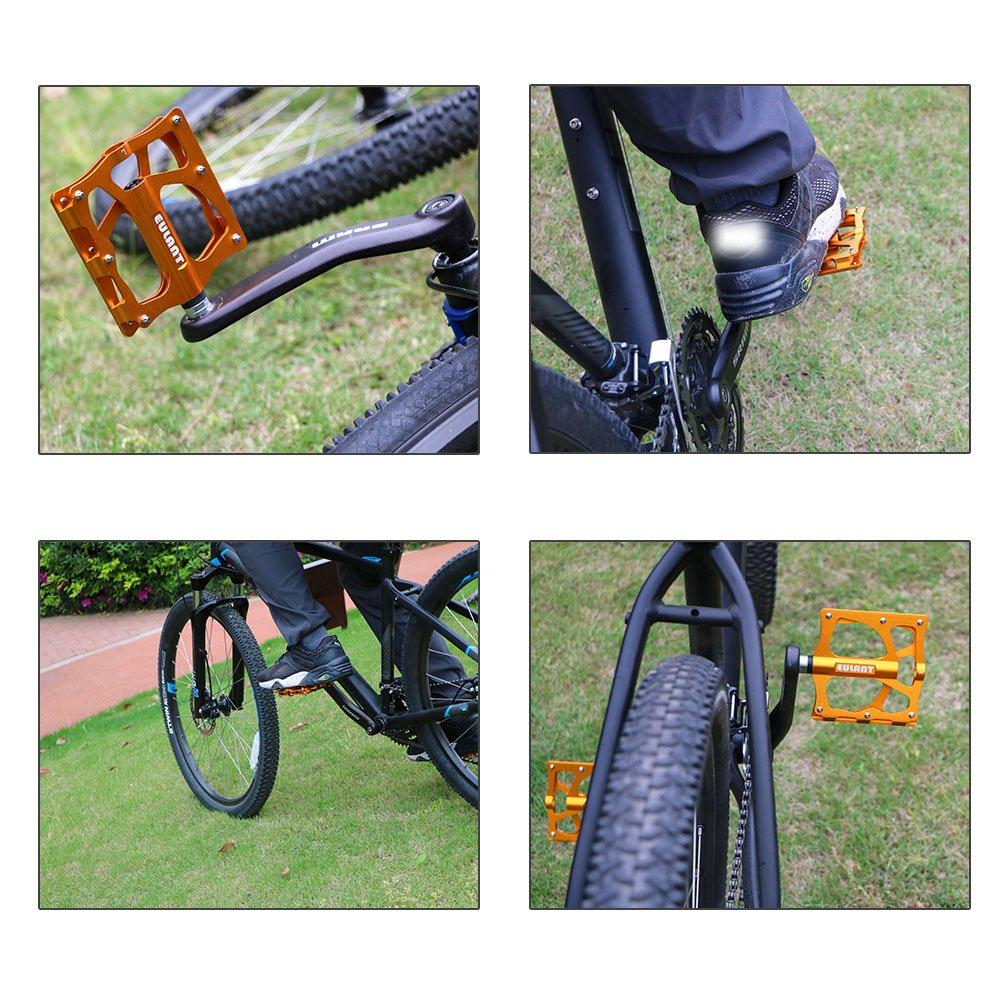 Pedal para Cycling Ciclismo MTB BMX Bike Bicycle Bicicleta Monta/ña Rodamientos de Tres Piezas Sellado EULANT Amplio Plataforma Pedales MTB Pedales Bicicleta Monta/ña Antideslizantes