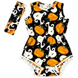 Anbaby Baby Halloween Outfit Pompom Romper with Headband Halloween Costumes Clothes