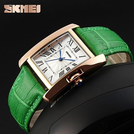 Amazon.com: Fashion Watches For Women Waterproof,Skmei Ladies Wristwatches,Vogue Leather Strap Rose Gold Case Quartz Wrist Watch (green): Watches
