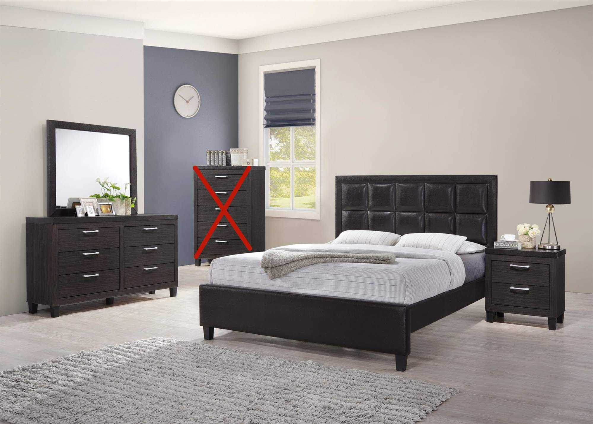 GTU Furniture Contemporary Styling Espresso Twin/Full/Queen/King Bedroom Set (Queen Size Bed, 4 Pc)