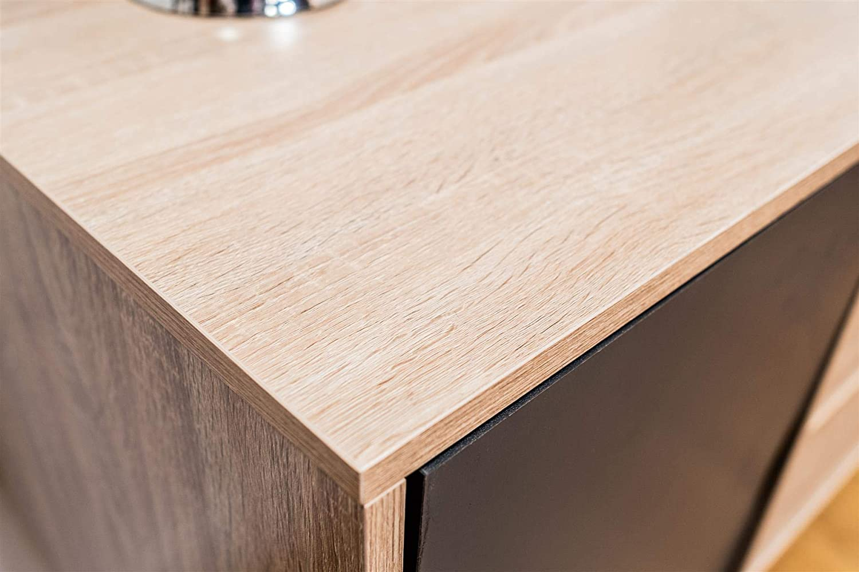 Timber Art Design Alford Scandinavian Large Sideboard Cupboard 2 Doors 3 Drawers Buffet Oak White Grey