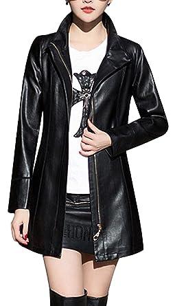 0019acfa1 HugMe.fashion Long Coat Leather Jacket for Women Slim Fit LJK55 ...