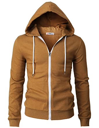 fe3373a57c3 H2H Mens Casual Basic Long Sleeve Zip Up Hoodie Jacket Caramel US S Asia M