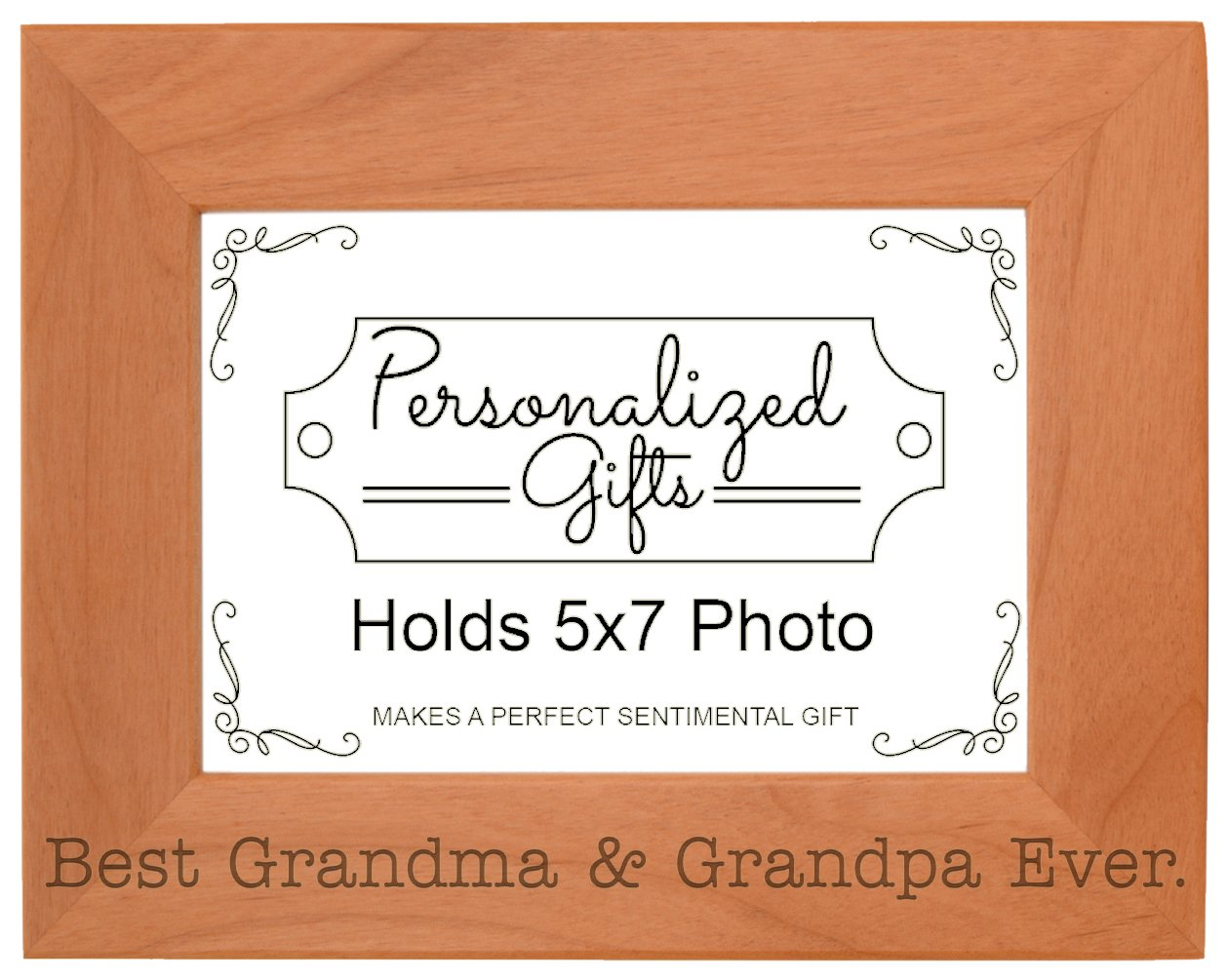 ThisWear Grandparents Gifts Best Grandma Grandpa Ever Natural Wood Engraved 5x7 Landscape Picture Frame Wood
