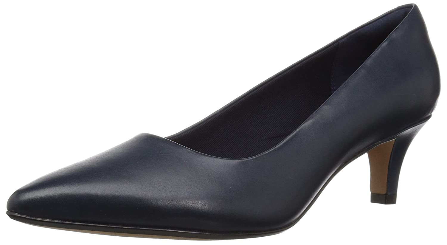 CLARKS Women's Linvale Jerica Pump B078GB8QYX 080 W US|Navy Leather