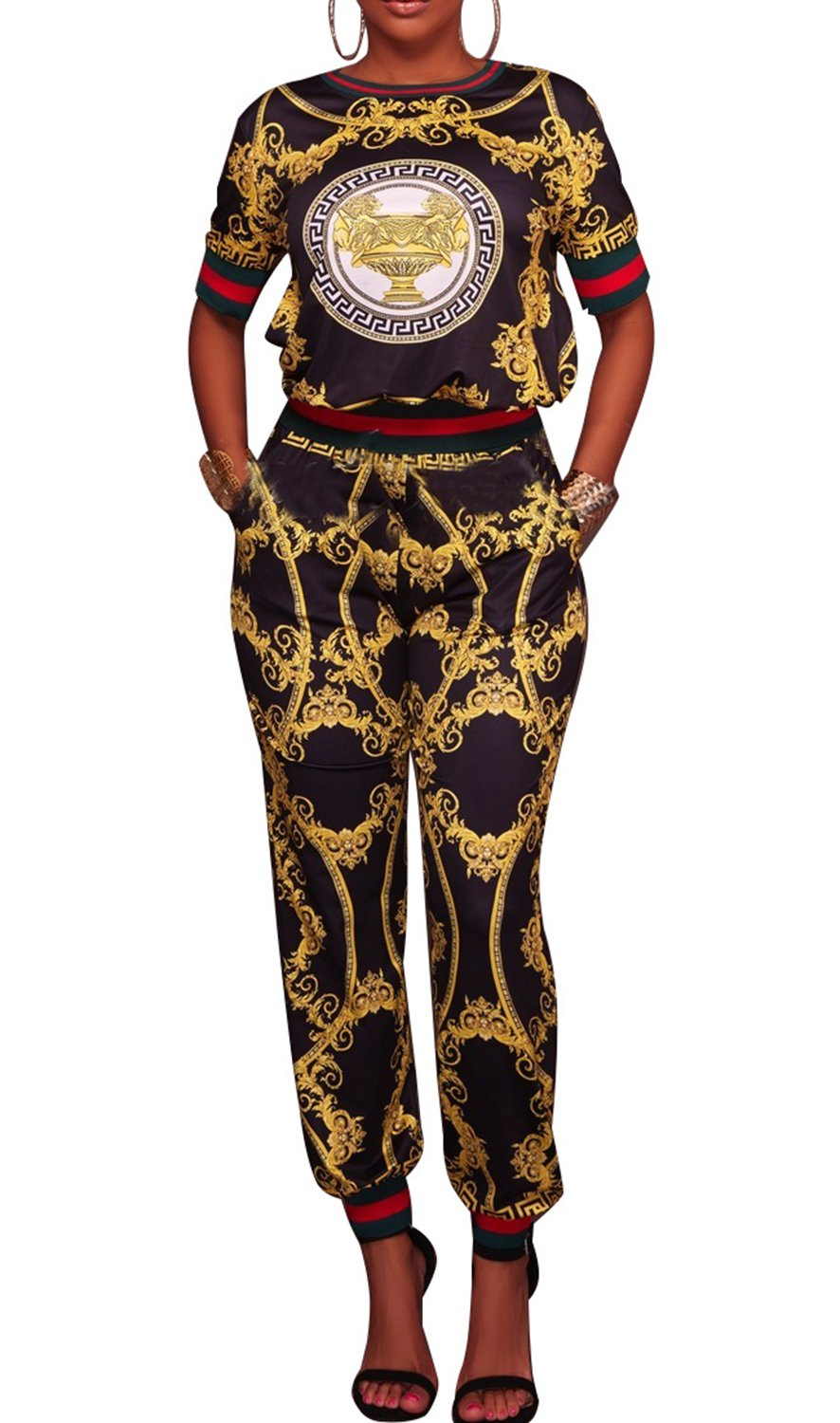 PiePieBuy Women African Dashiki Style Tops and Pants Sweatsuits Set Tracksuits (XL, Black)
