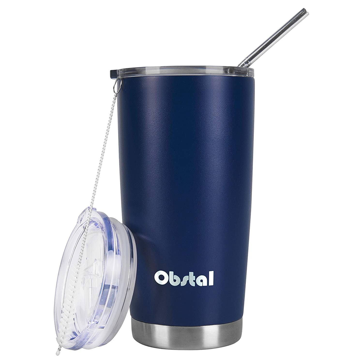 Obstal 20 oz Insulated Coffee Tumbler Stainless Steel Double Wall Vacuum with Stainless Straw, 2 Clear Lids & Cleaning Brush for Office, Navy, Powder Coated