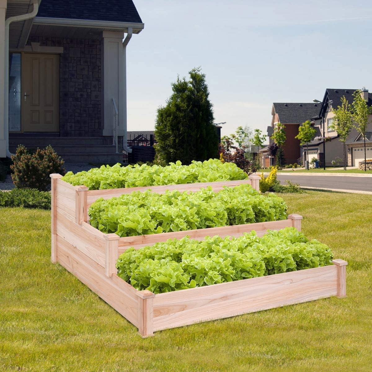 Giantex 3 Tier Wooden Elevated Raised Garden Bed Planter