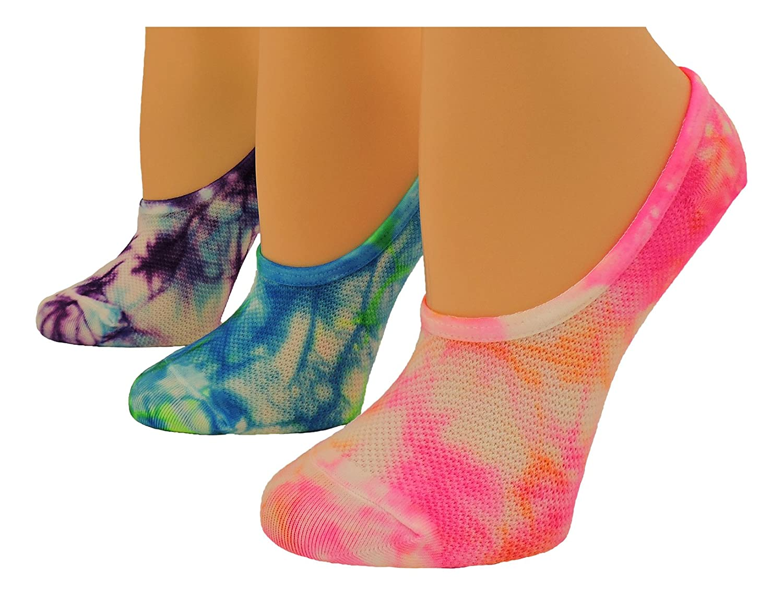 MadSportsStuff Tie Dye No Show Socks – 3パック Medium Multi-Neon B071WPBYF4