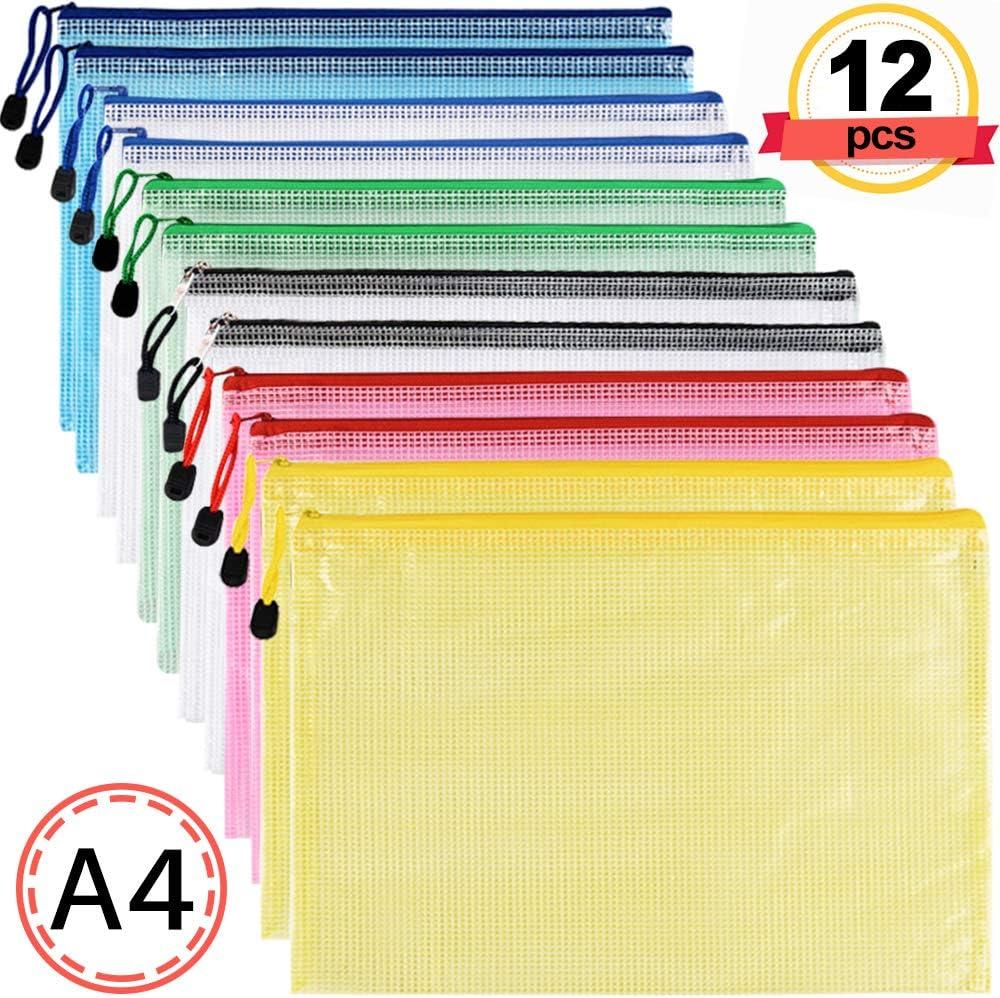 Bolsa Zip Transparente - 12 Piezas Bolsas Transparentes A4 Carpeta Plastico Documentos con Cremallera Cierre