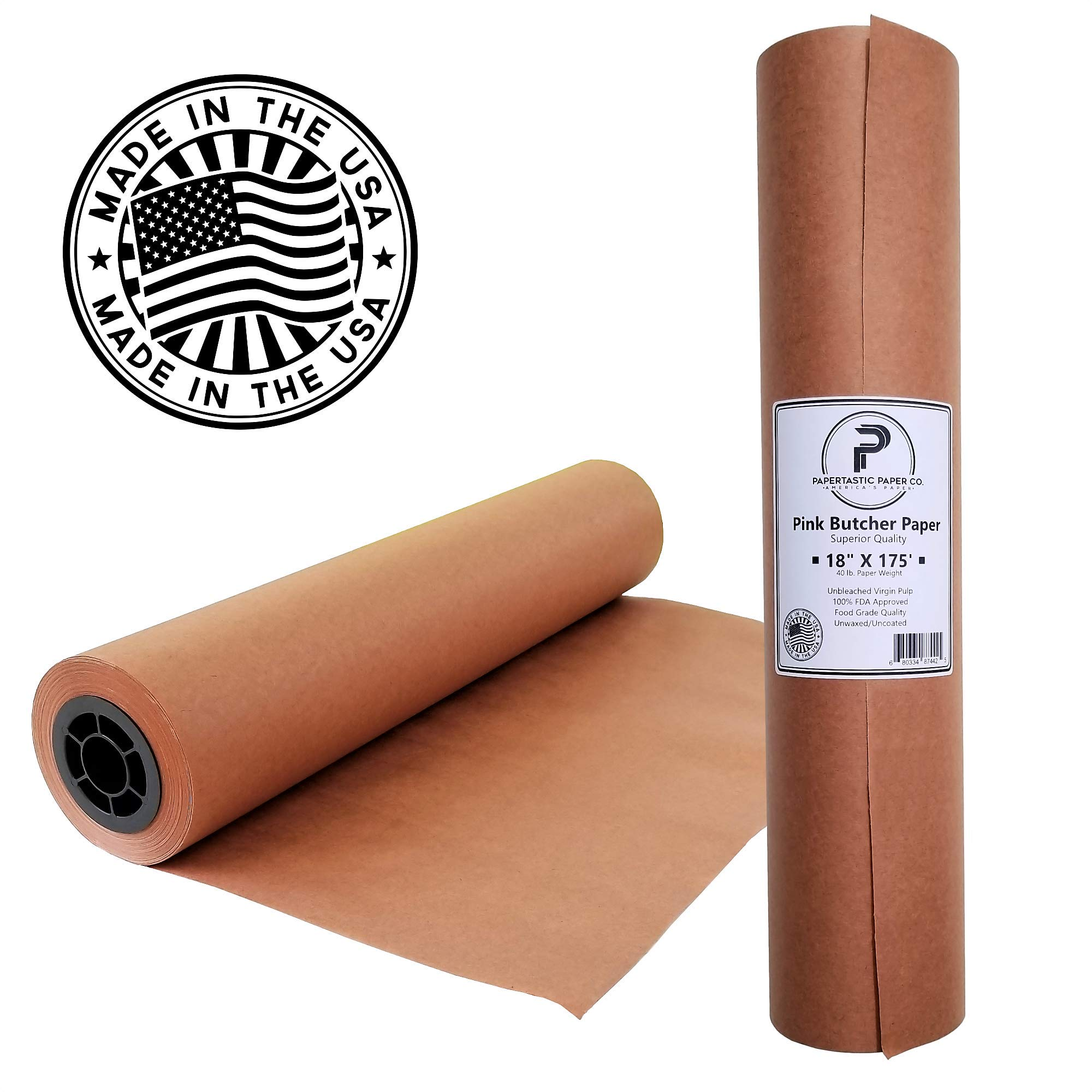 Pink Butcher Paper Roll 18'' x 2100'' (175ft)   Best Peach Wrapping Paper for Smoking Meat, Brisket, Crawfish Boil, or Table Runner   Made in USA   Unwaxed, Uncoated, Unbleached