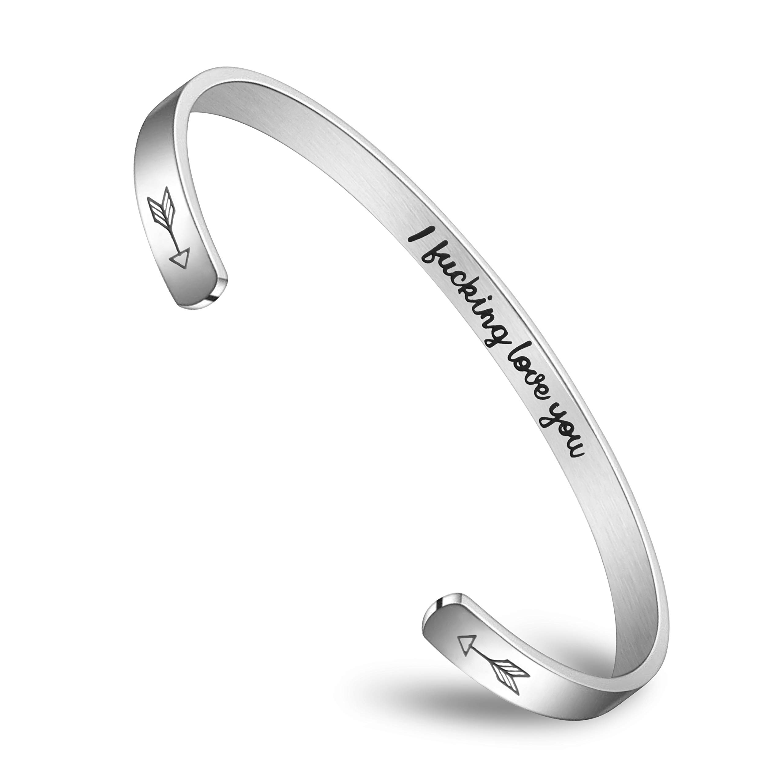 MEXBLING Inspirational Bracelets for Women Girls Birthday Gifts for Her Stainless Steel Engraved Personalized Mantra Bracelets for Women Cuff Bangle Bracelet Come with Gift Box