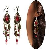 Eternity J. Women Vintage Retro Ethnic Drop Bohemian Dangle Earring Lolita Antique Bead Tassel Earrings