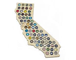 California Beer Cap Map - Holds Craft Beer Bottle Caps