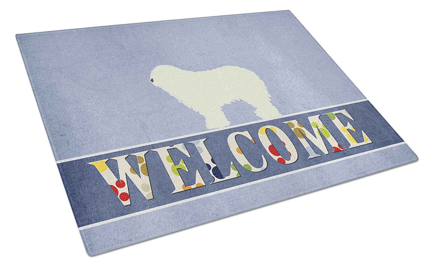 Multicolor Carolines Treasures Welsh Terrier Welcome Glass Cutting Board Large