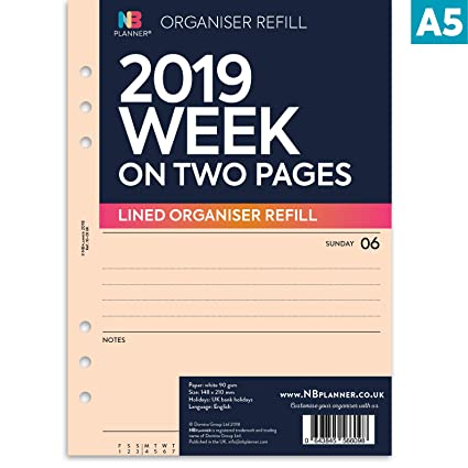 NBplanner® 2019 - Organizador de planificador semanal en dos páginas, A5, con líneas, recambio para agenda inglesa, 6 anillas, A5, carpeta compatible ...