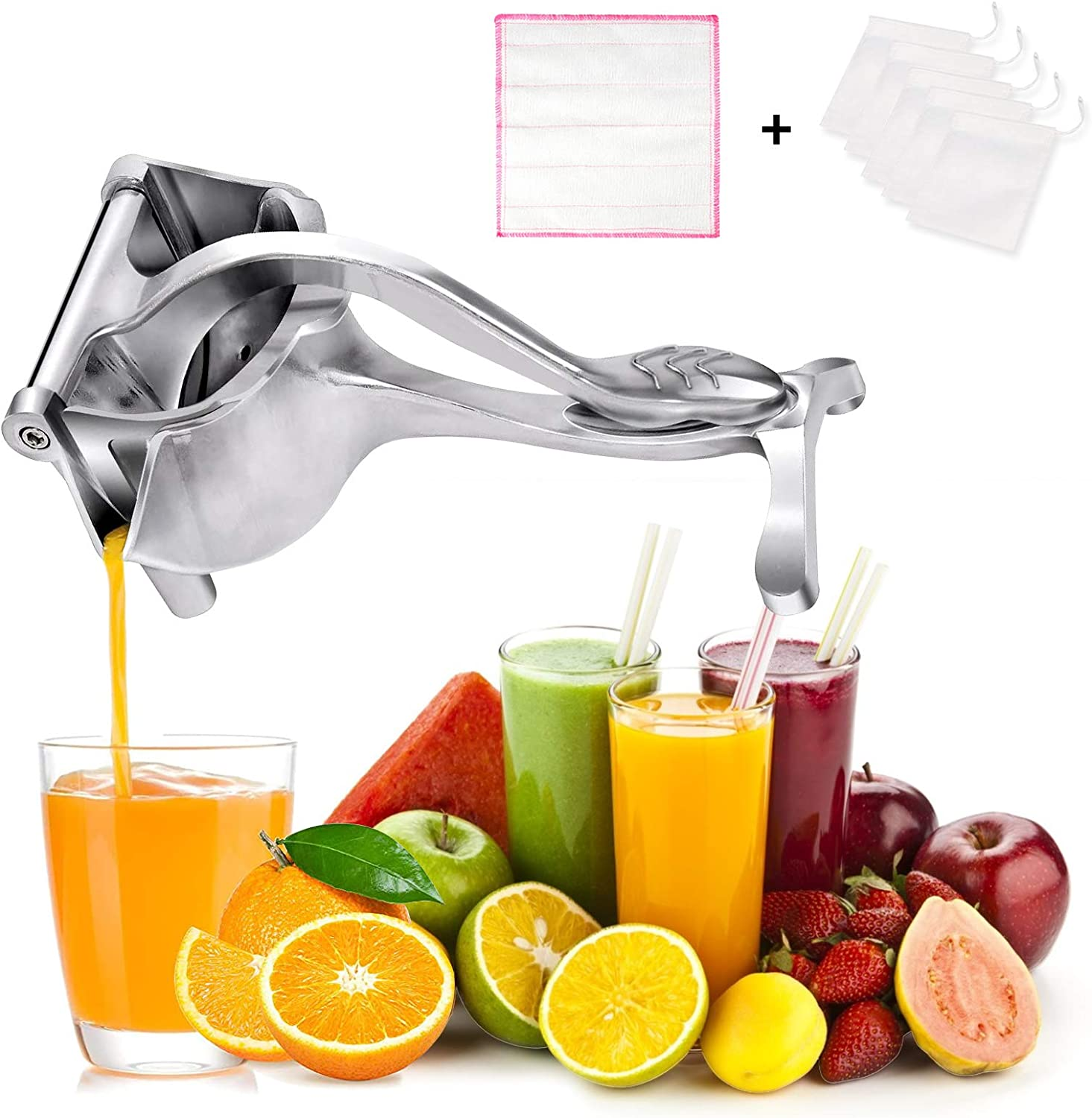 Heavy Duty Manual Fruit Juicer,Hand Squeezer, Manual Citrus Press Juicer, High-quality Aluminum Alloy Lemon Squeezer with 5 Filter Bags and 1 Rag,Easy to Clean
