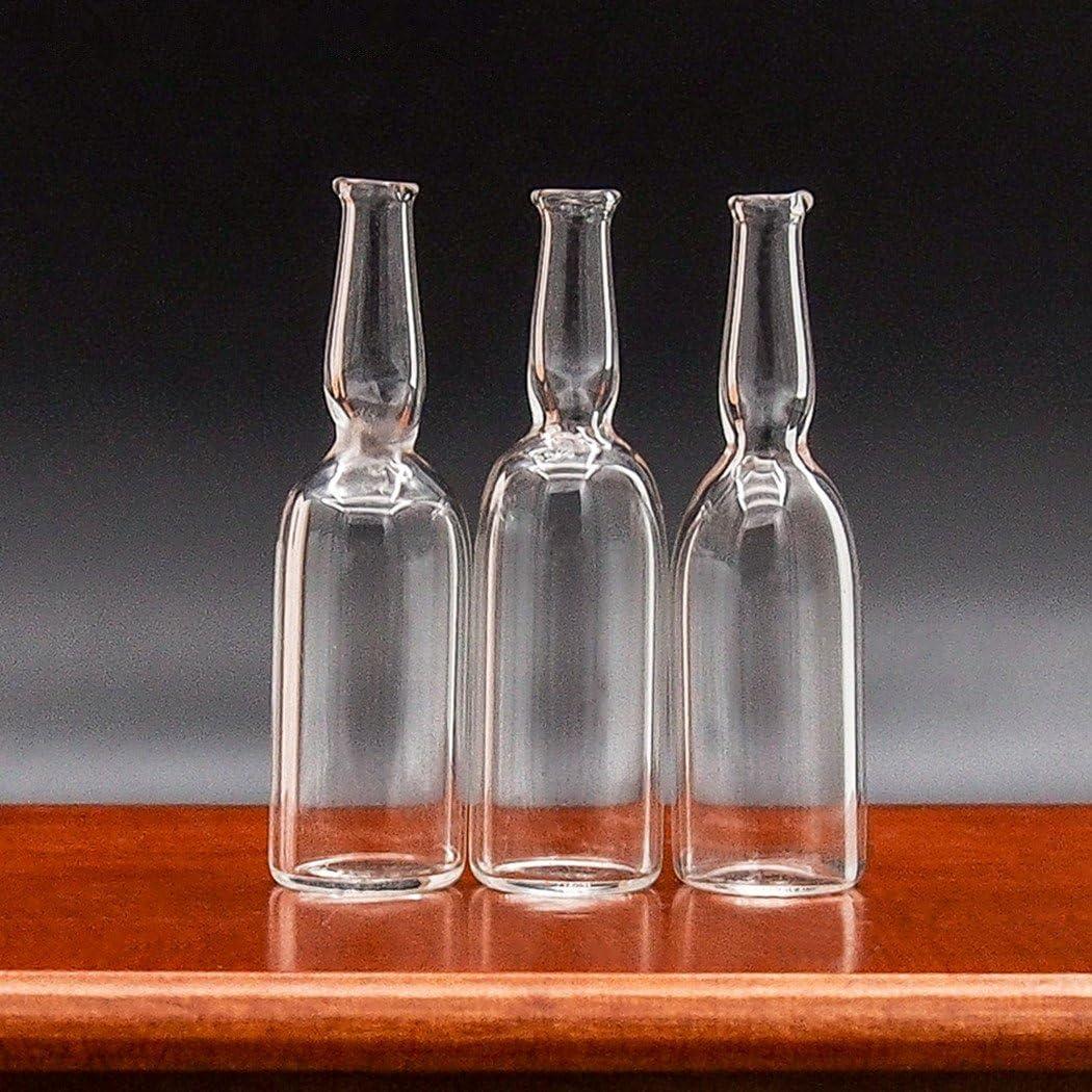 Odoria 1:12 Miniature 3PCS Clear Glass Wine Bottle Dollhouse Kitchen Accessories