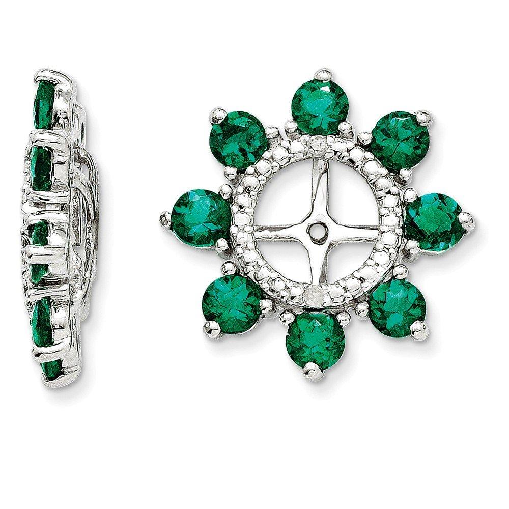 Sterling Silver Rhodium Diamond & Created Emerald Earring Jacket