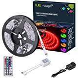 LE 12V Flexible RGB LED Light Strip Kit, Color Changing, 150 Units 5050 LEDs, Non-Waterproof , Remote Controller and Power Adaptor Included, LED Tape, Pack of 16.4ft/5m