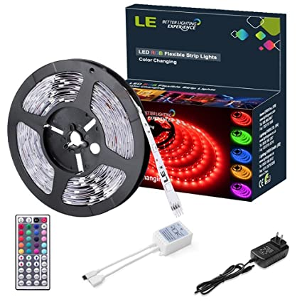 Amazon le 12v flexible rgb led light strip kit color changing le 12v flexible rgb led light strip kit color changing 150 units 5050 leds aloadofball Gallery