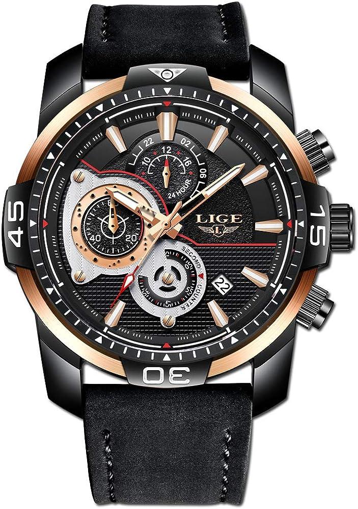 LIGE Relojes Hombre Deportes Impermeable Cuarzo Relojes Hombre Grande Dial Negro Cuero Correa Relojes