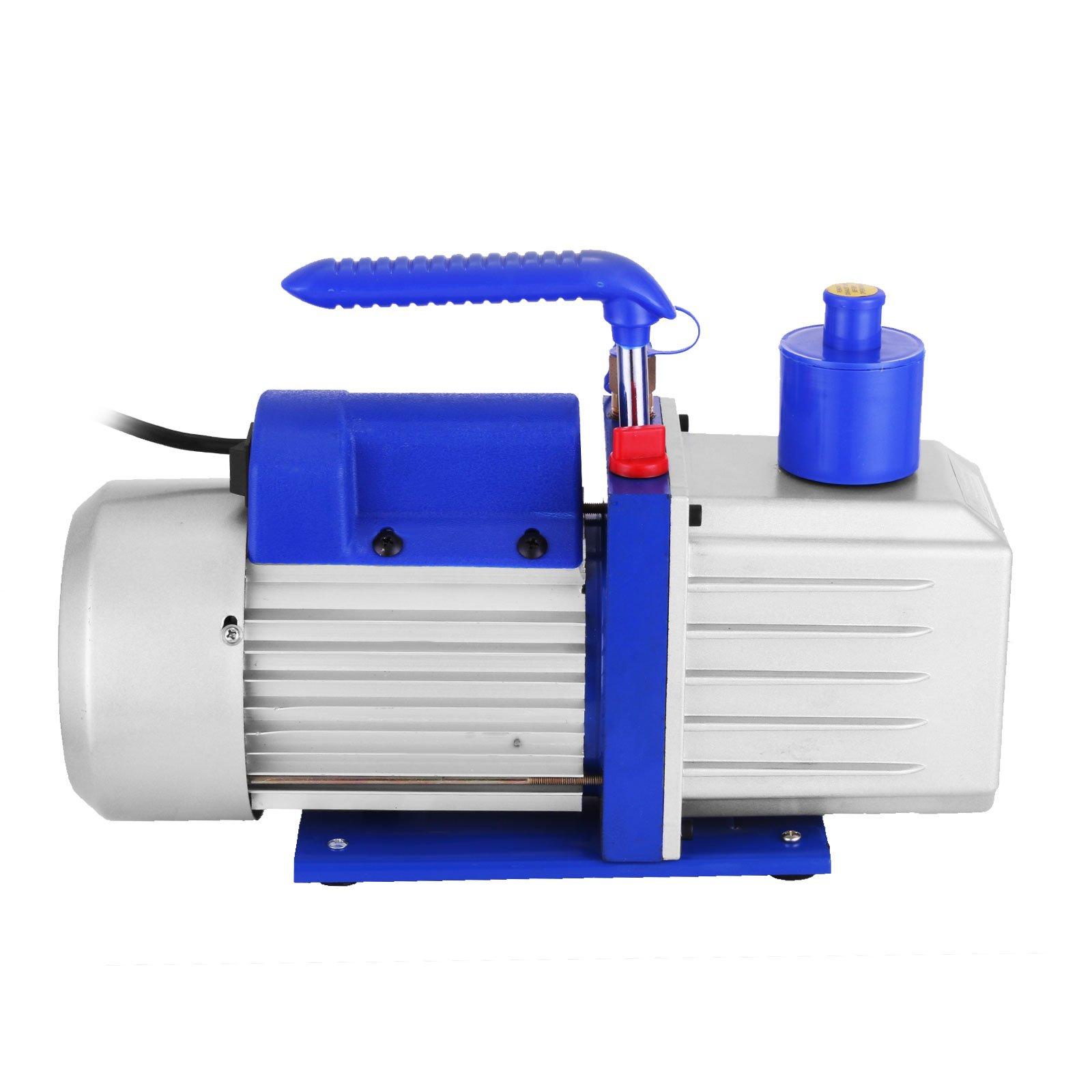 VEVOR Vacuum Pump 9CFM 1HP Two Stage HVAC Rotary Vane Vacuum Pump Wine Degassing Milking Medical Food Processing Air Conditioning Auto AC Refrigerant Vacuum Pump (2-Stage, 9CFM) by VEVOR (Image #3)