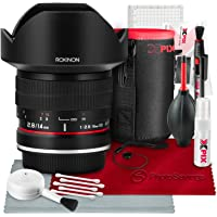 Rokinon 14mm f/2.8 IF ED UMC Lens for Canon EF Mount (FE14M-C) with Deluxe Accessory Bundle and Xpix Cleaning Kit