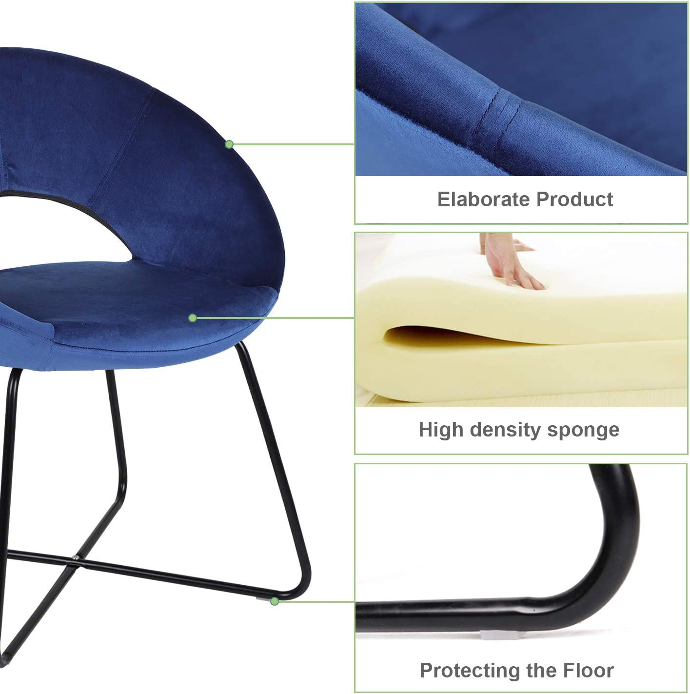 Jooli H Dining Chairs Velvet Armchairs, Soft Seat and Back Support Office Reception Chair with Metal Legs for Living Room Bedroom Kitchen Blue