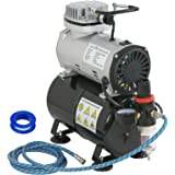 ZENY Pro 1/5 HP Airbrush Air Compressor Airbrushing Kit w/ 3L Tank and 6FT Hose Multipurpose for Spraying Cake Decorating Tat